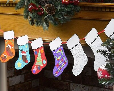 CHRISTMAS STOCKINGS COLOUR-IN GARLAND - Kids Christmas Crafts