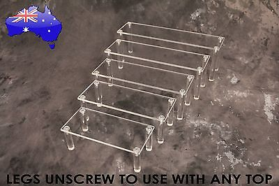 Set of 5 Clear Acrylic Adjustable Jewellery Display Riser; watches toys figurine