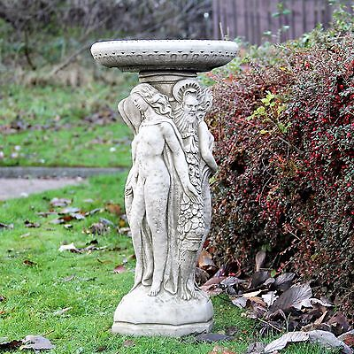 Large Three Graces Bird Bath Feeder Stone Garden Ornament Table Detailed Statue