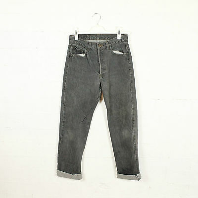 """VINTAGE LEVI'S BLACK 501 JEANS CHARCOAL WASHED GREY 90s W28"""" L30"""" WOMENS SIZE 8"""
