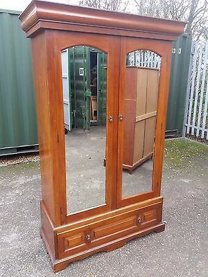 Victorian/Edwardian Mirror Fronted Double Wardrobe With Drawer