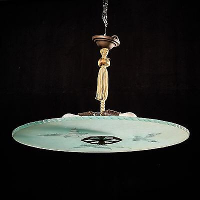 Antique Art Deco Chandelier with Eagle Ceiling Lamp Lighting Fixture 1930s