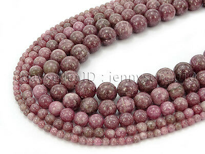 "Natural Lepidolite Gemstones Round Spacer Loose Beads 15"" 4mm 6mm 8mm 10mm 12mm"