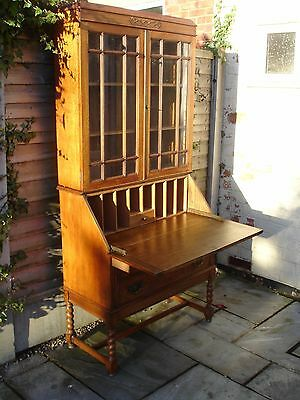 Bureau Bookcase 1930's, Vintage Antique Oak Bureau With Key, Old Used Furniture