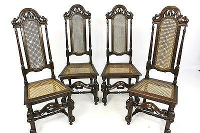 Set of four Oak 17/18thC Jacobean Style Highback Bergere Cane Dining Chairs