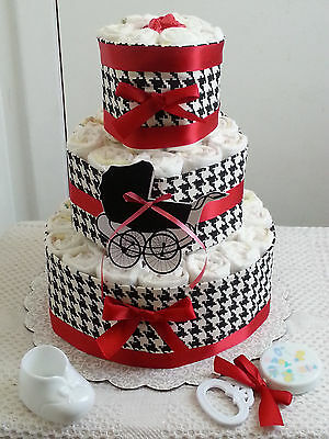 3 Tier Red Black & White Houndstooth Diaper Cake Baby Shower Gift Centerpiece