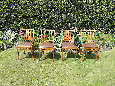 Set of 4 Wooden Vintage Chairs with Removable Leather Seats Upcycle Shabby Chic