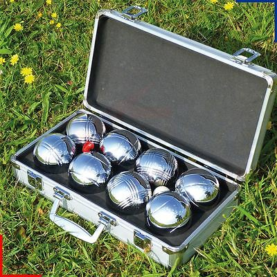 Polished Set of 8 Boules with Carry Case Family Outdoor Garden Game