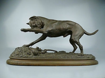 Bronze Sculpture of Jack Russell Terrier & Snail Signed Frederic Steenackers BR