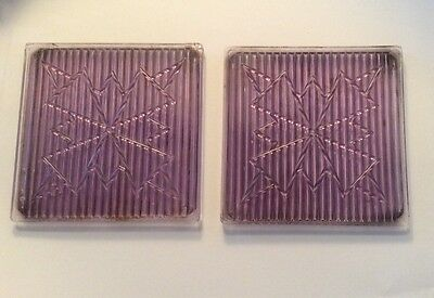 Pair Of Antique Purple Glass Tiles. AMERICAN 3-WAY SNOWFLAKE PATTERN LUXFER ERA
