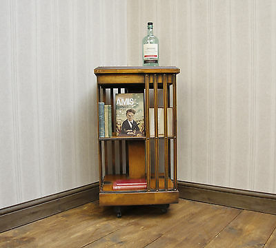 Edwardian Antique Revolving Bookcase, Nice Quality Library Piece