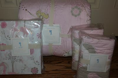 NWT Pottery Barn Kids Unicorn Full quilt, 2 shams & sheet pink paige