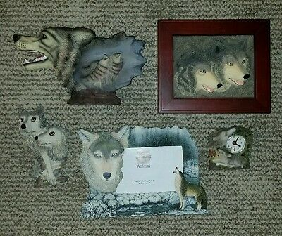 LOT of 5 - Wolf Wolves Decor - Picture frame Box Clock Figurine