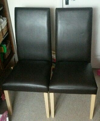 X2 next brown leather high back dining chairs
