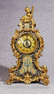 Antique French Empire Cloisonné Mantle Clock Rococo Ormolu Cherub
