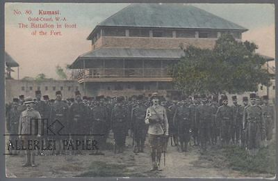 ppc; Ghana, gold Coast, Kumasi, 1912, Soldiers in front of the Fort,