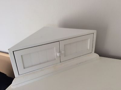 Pair Of Small White Wood Corner Cabinets