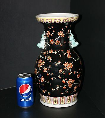 """Lg 14"""" People's Republic of China Chinese Famille Noire 2 handle Porcelain Vase"""