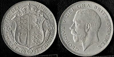 narkypoon's Scarce EXTREMELY HIGH GRADE 1922 George V STERLING SILVER Half-Crown
