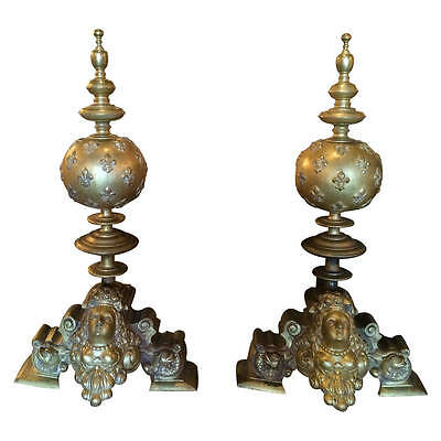 Massive French Louis XV Gilt Bronze Andirons with Fleur-dy-lys    Must see!