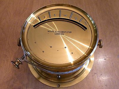 WHITE ELEC INST CO LTD LONDON gauge switch RARE BRAILLE dial brass steampunk