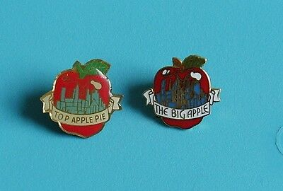 2 new York stud pin badges charity the big apple & top apple pie