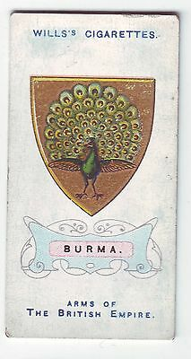 Wills's Card - Arms of The British Empire c1910 - No  8 - Burma - Used