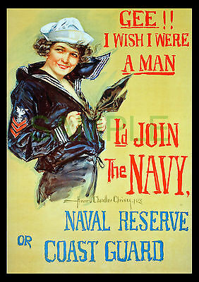 Gee!! I Wish I Were a Man! WW1 framed 1918 US Navy poster repro Christy girl