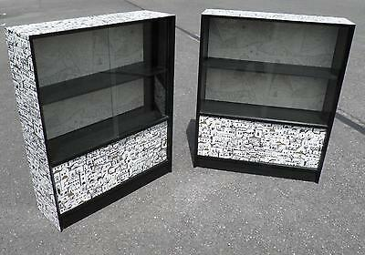 Pair Upcycled Retro Glass Door Bookcases By Herbert E Gibbs, London.