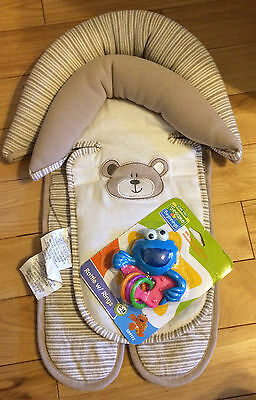 Babies R Us Newborn Double Head Support-Car Seat -Stroller + Sesame St Rattle