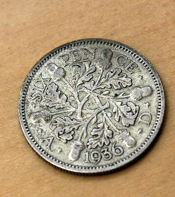 1936 Great Britain 6 Pence Silver