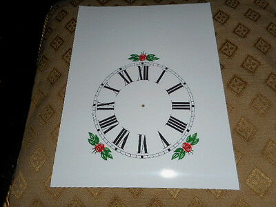 "Steeple Paper Clock Dial - 5"" M/T - Roman - White-Floral - Face /Clock Parts"