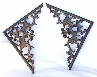 Cast Iron Corner accents, architectural hardware, vintage iron gingerbread. Gold
