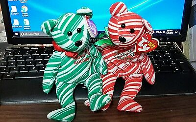 TY Beanie Babies Bears - 2007 Holiday Teddies - Red and Green Mint Condition