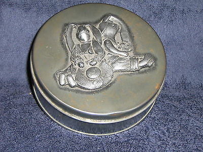 Bunny Metal Container Pewter Top Easter Vintage Collectible