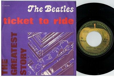 THE BEATLES Ticket to ride 45rpm 7' PS 1976 MINT- The Greatest Story RE