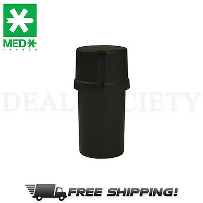 MedTainer Storage Container w/ Built-In Grinder - Solid Black