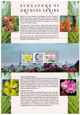 SINGAPORE ~ 1992 Orchids, Singapore '95 2nd series sg#674a Presentation Pack MNH