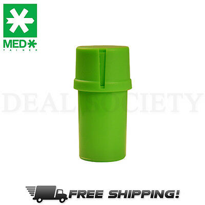 MedTainer Storage Container w/ Built-In Grinder - Solid Green