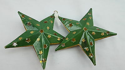 2 Department 56 Metal Green and Gold STAR Hanging Christmas Ornament 5""