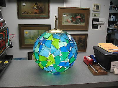 A Mid Century Modern Resin Acrylic Lucite Swag Lamp With Blue Green Combo Colors