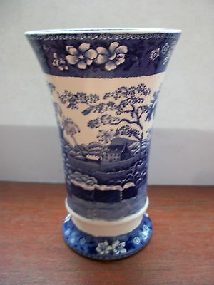 Rare Early Spode Trumpet Vase In The Trumpet Pattern .very Vibrant Blues