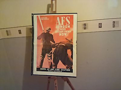 WW 11 Fire service Civil Defence AFS London poster  A2 600 x 420