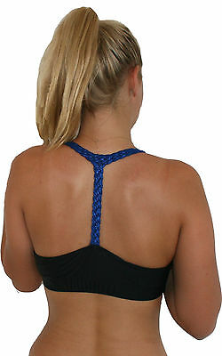 Black & Blue Hologram Plait Sports Bra Dance, Pole Dancing Fitness Top