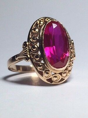 Vintage 14ct RUSSIAN rose gold and Ruby Ring