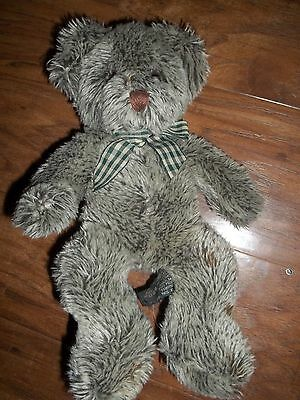 """11""""  Russ Berrie  Bear (Ashley) Gray with Checkered Ribbon"""