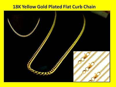 "18K Yellow Gold Plated Flat Curb 2mm Necklace Chain 20"" and 24"" - Free Delivery"