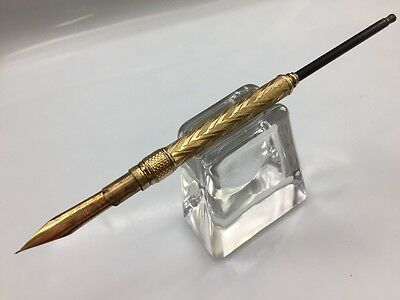 Antique Mable Todd & Co Retractable Dip Pen Holder w/ Wood Taper & Gold plate