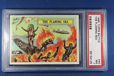 1965 Topps Battle Cards - #40 The Flaming Sea - PSA NM 7