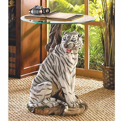 Home Locomotion White Tiger Statue Table Glass Top Decorative Accent Furniture